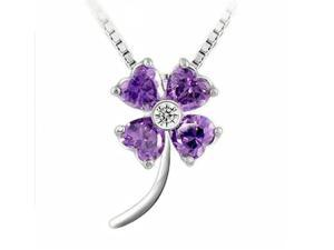 I. M. Jewelry Sterling Silver Clover Pendant Simulated Amethyst Necklace