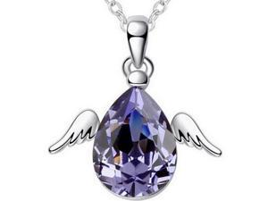 I. M. Jewelry Sterling Silver Angel Egg Pendant with 31 x 15 mm Simulated Amethyst Necklace