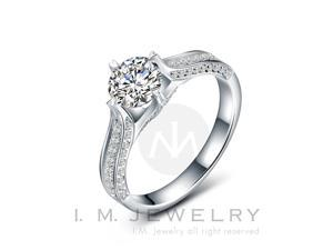 4 Prong with 1 carat simulated diamond Sterling Silver engagement Ring