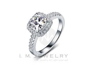 Luxe Carre with 1 carat simulated diamond Sterling Silver engagement Ring