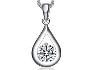 I. M. Jewelry Sterling Silver Oval Pendant With 20 x 10 mm Simulated Diamond Necklace