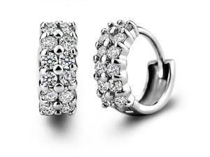 I. M. Jewelry Sterling Silver cubic zirconia hoop Earrings