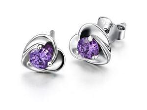 I. M. Jewelry Sterling Silver Amethyst cubic zirconia Stud Earrings