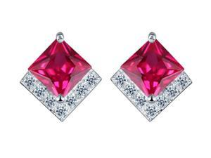I. M. Jewelry Sterling Silver Square cubic zirconia Stud Earrings