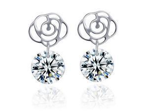 I. M. Jewelry Sterling Silver Rose 8 mm cubic zirconia Stud Earrings