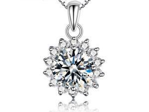 I. M. Jewelry Sterling Silver Sunflower diamond simulants Pendant Necklace