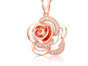 I. M. Jewelry Sterling Silver Rosy Rose Gold Pendant Necklace