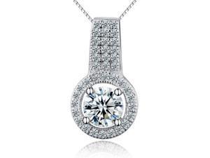 I. M. Jewelry Sterling Silver 1 carat diamond simulants Pendant Necklace