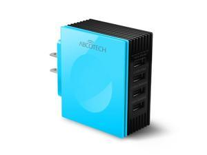 Abco Tech 31W/6.2A 4-Port USB Wall Charger for Cell Phones Tablets, Bluetooth Speakers & Headsets, External Battery Packs and Other Devices With USB Cord Chargers (Blue)