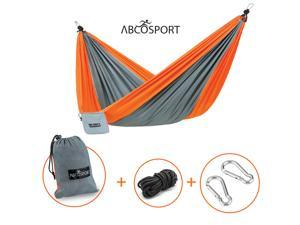 Camping Hammock – Portable Double Strong Nylon Parachute for Traveling, Hiking, Backpacking, Climbing & Outdoor Sleeping – Lightweight - Hammock Straps & Steel Carabiners Included – Easy to Install.
