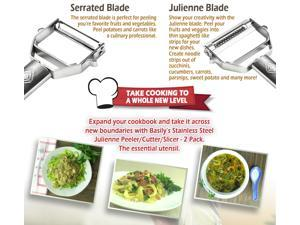 Basily Premium Julienne and Serrated Stainless Steel Peeler - Set of 2