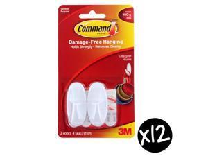 Command Designer Small Hooks, White, 1lb Capacity, Pack of 24