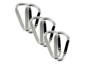 "SecureLine 2"" Bright Spring Link Carabiner 1/4 in Clip, Pack of 6 - Silver"