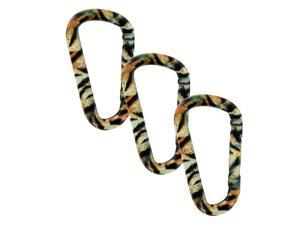"SecureLine 3"" Animal Print Spring Link Carabiner 5/16 in Clip, Pack of 3, Tiger"