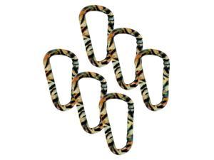 "SecureLine 3"" Animal Print Spring Link Carabiner 5/16 in Clip, Pack of 6, Tiger"