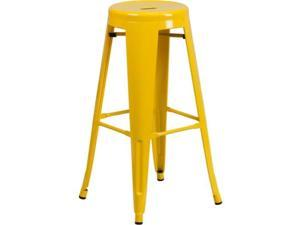 Flash Furniture 30'' High Backless Yellow Metal Indoor-Outdoor Barstool with Round Seat
