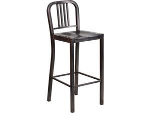 Flash Furniture 30'' High Black-Antique Gold Metal Indoor-Outdoor Barstool