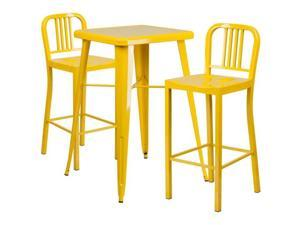 Flash Furniture White Metal Indoor-Outdoor Bar Table Set with 2 Vertical Slat Back Barstools