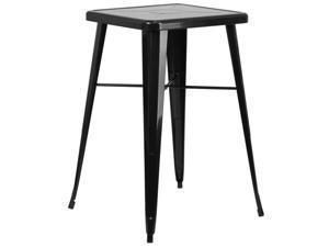 Flash Furniture Yellow Metal Indoor-Outdoor Bar Table Set with 2 Vertical Slat Back Barstools
