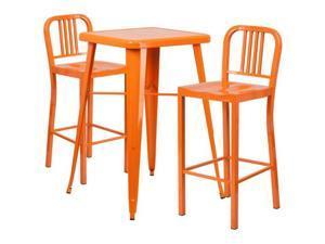 Flash Furniture Green Metal Indoor-Outdoor Bar Table Set with 2 Vertical Slat Back Barstools