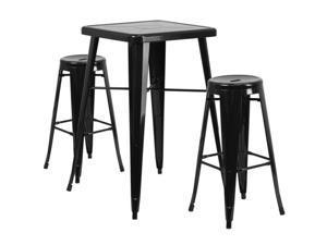 Flash Furniture Orange Metal Indoor-Outdoor Bar Table Set with 2 Vertical Slat Back Barstools