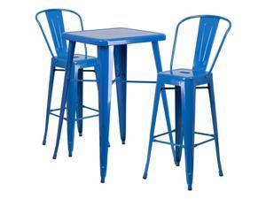 Flash Furniture Black Metal Indoor-Outdoor Bar Table Set with 2 Barstools