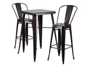 Flash Furniture Blue Metal Indoor-Outdoor Bar Table Set with 2 Barstools