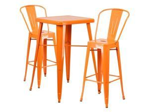 Flash Furniture Green Metal Indoor-Outdoor Bar Table Set with 2 Barstools