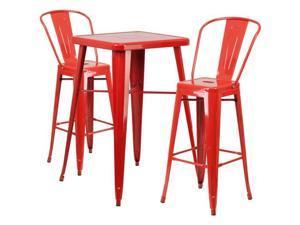 Flash Furniture Orange Metal Indoor-Outdoor Bar Table Set with 2 Barstools