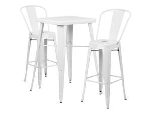 Flash Furniture Silver Metal Indoor-Outdoor Bar Table Set with 2 Barstools