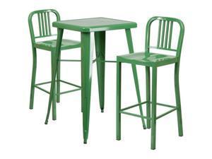 Flash Furniture Yellow Metal Indoor-Outdoor Bar Table Set with 2 Barstools