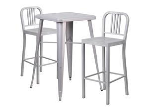 Flash Furniture Red Metal Indoor-Outdoor Bar Table Set with 2 Vertical Slat Back Barstools