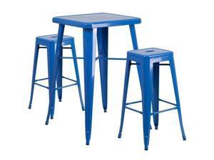 Flash Furniture Black Metal Indoor-Outdoor Bar Table Set with 2 Backless Barstools