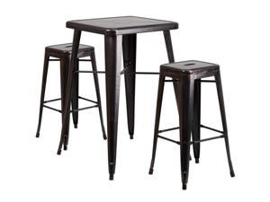 Flash Furniture Blue Metal Indoor-Outdoor Bar Table Set with 2 Backless Barstools