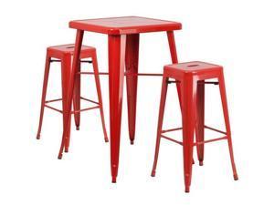 Flash Furniture Orange Metal Indoor-Outdoor Bar Table Set with 2 Backless Barstools