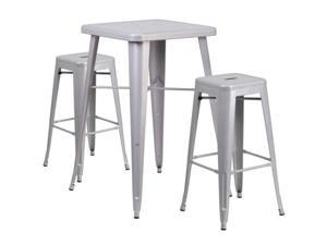 Flash Furniture Red Metal Indoor-Outdoor Bar Table Set with 2 Backless Barstools