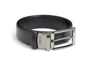 Royce Leather Black Airport Security Checkpoint Friendly Fly Belt in Italian Saffiano Genuine Leather with Detachable Chrome Buckle, Waist Size 36