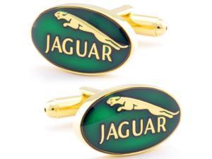 Green Jaguar Car Cufflinks