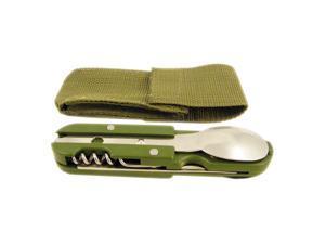 6 Function Multi-tool Camping Outdoors Eating Utensil Set w/ Folding Pocket Knife