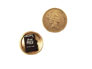 Covert Hollow Spy Coin Micro SD Card Holder (Pound)