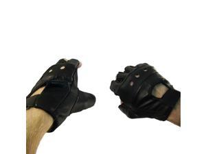 Multi-Purpose Genuine Leather Bike & Fitness Fingerless Gloves - XXL