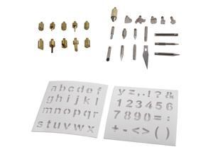 28pc Wood Burning & Soldering Tips and Stencils Accessory Set