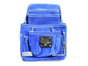 10 Pocket Tool Belt Pouch Heavy Duty Blue Suede Leather Fits Hammer And Nails