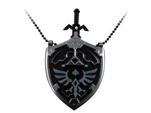 The Legend of Zelda Hyrule Black Shield Necklace and Removable Mini Sword