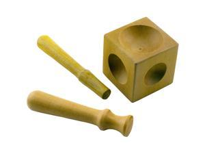 """Wooden 2"""" Cube Dapping Block with 6 Domes for Metalworking and Jewelry Making with Shaping Tools"""