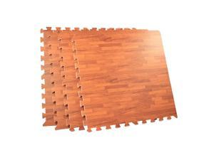 64 Square Foot Foam Interlocking Wood Grain Floor Tile Mat - Cherry