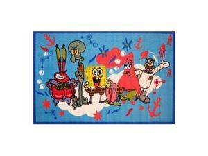 Fun Rugs SpongeBob Party Time With Friends Blue Area Rug Activity Mat 51x78