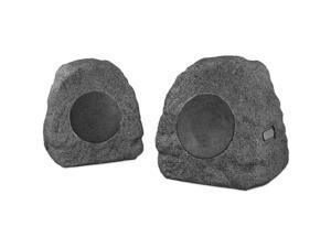Innovative Technology Charcoal Bluetooth Outdoor Rock Speaker Pair