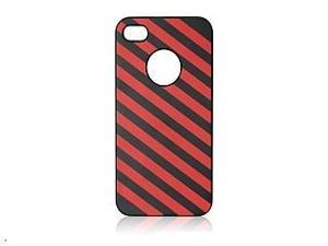 iShell Zebra Series Hard Thin Back Cover for iPhone 4 / 4S - Red/Black