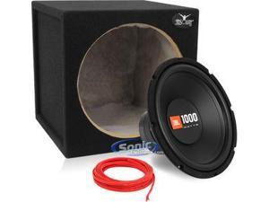 "JBL CS1214_MDFS12_BBSW16 12"" Single 4-Ohm CS Series Car Subwoofer w/ 12"" Sealed Car Sub Box and 16-Gauge 23 Ft Speaker Wire"
